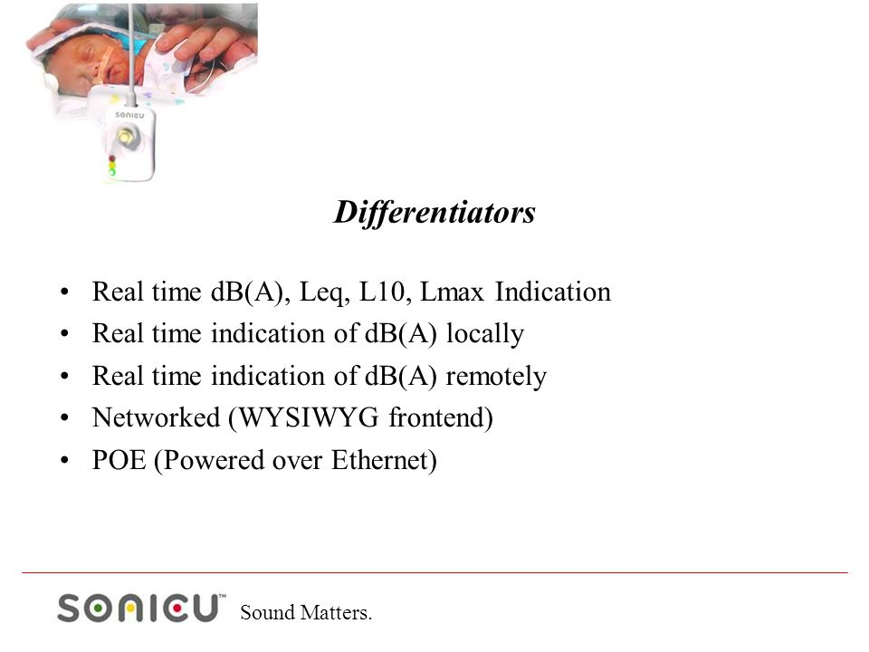 Sound Matters. Real time dB(A), Leq, L10, Lmax Indication Real time indication of dB(A) locally Real time indication of dB(A) remotely Networked (WYSI