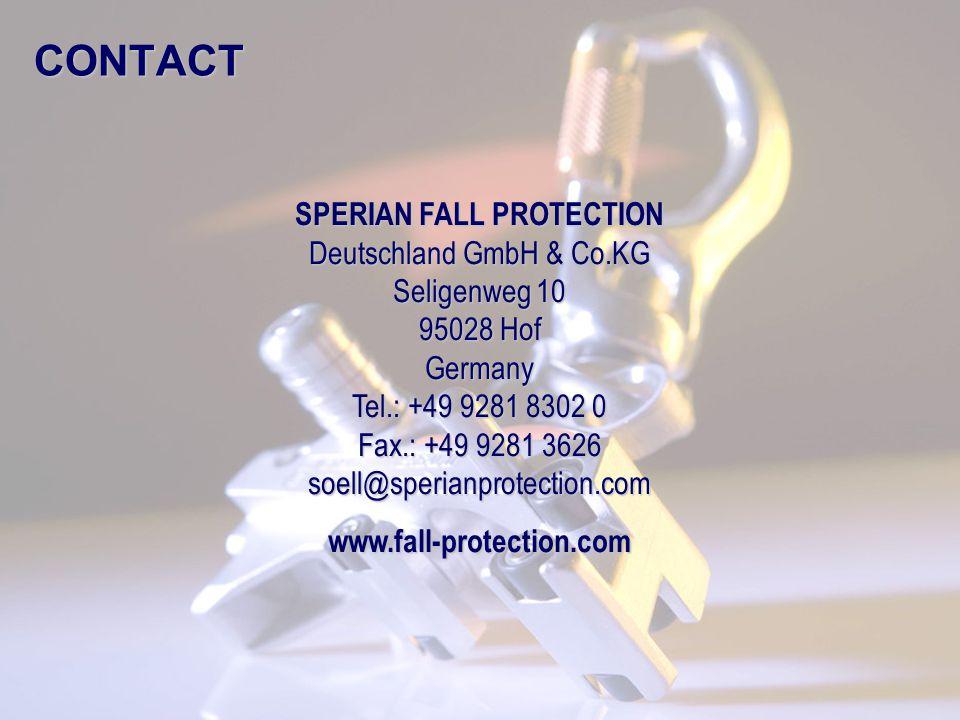 © Frank Martin www.fall-protection.com CONTACT SPERIAN FALL PROTECTION Deutschland GmbH & Co.KG Seligenweg 10 95028 Hof Germany Tel.: +49 9281 8302 0