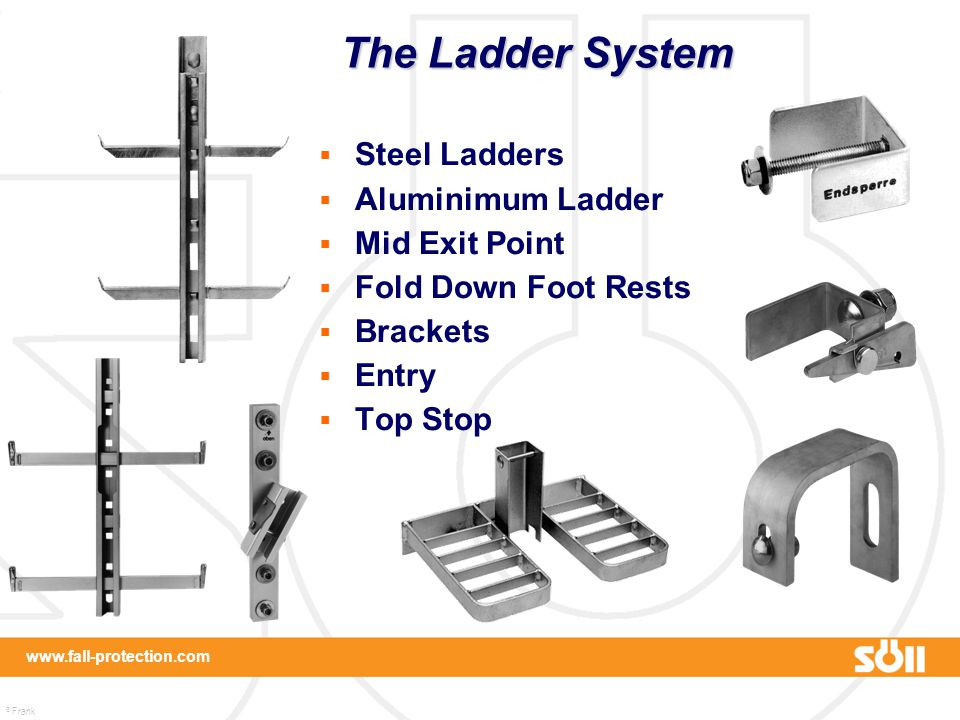 © Frank Martin www.fall-protection.com  Steel Ladders  Aluminimum Ladder  Mid Exit Point  Fold Down Foot Rests  Brackets  Entry  Top Stop The L