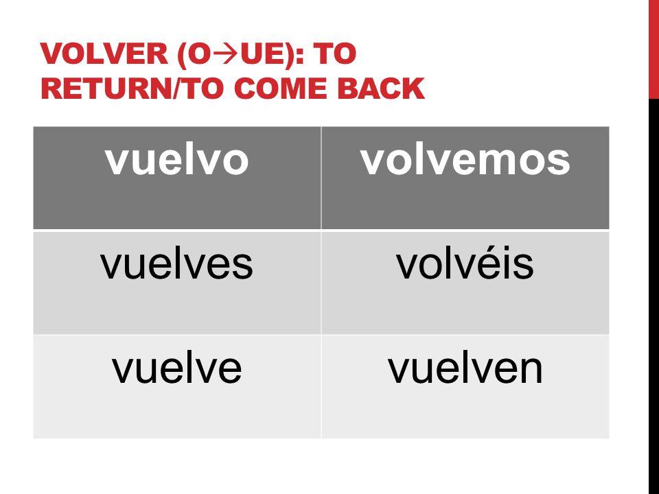 VOLVER (O  UE): TO RETURN/TO COME BACK vuelvovolvemos vuelvesvolvéis vuelvevuelven