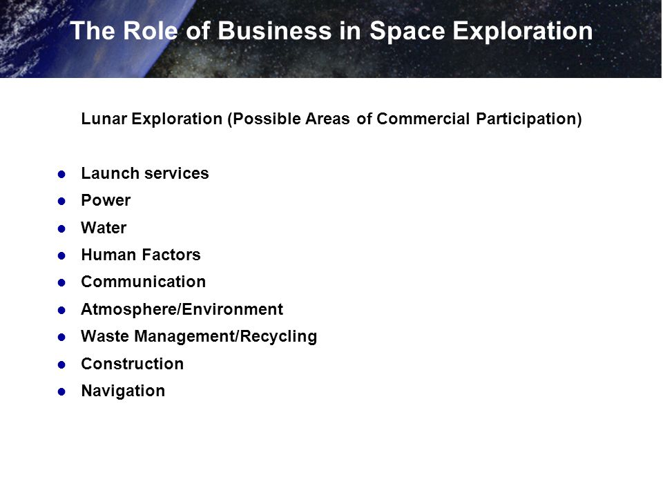 Lunar Exploration (Possible Areas of Commercial Participation) Launch services Power Water Human Factors Communication Atmosphere/Environment Waste Management/Recycling Construction Navigation The Role of Business in Space Exploration