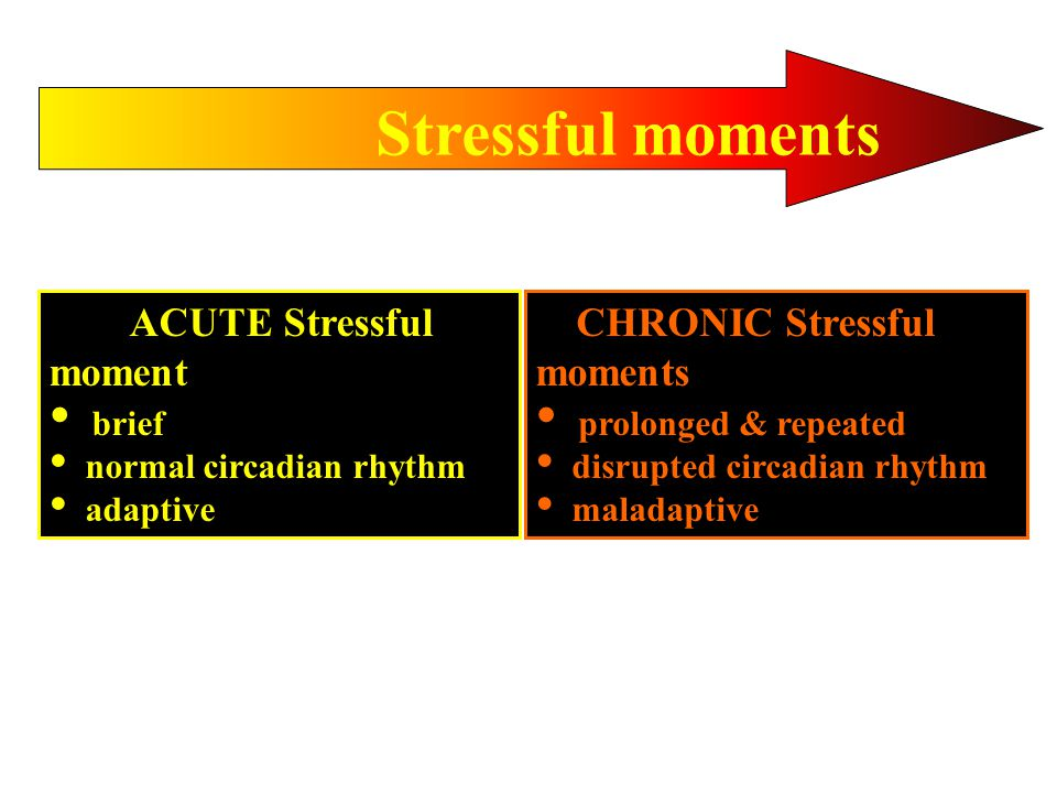 Stressful moments ACUTE Stressful moment brief normal circadian rhythm adaptive CHRONIC Stressful moments prolonged & repeated disrupted circadian rhythm maladaptive