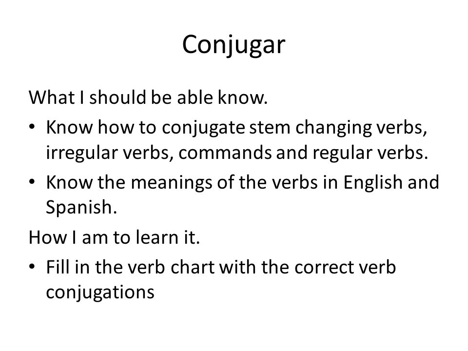Conjugar What I should be able know.