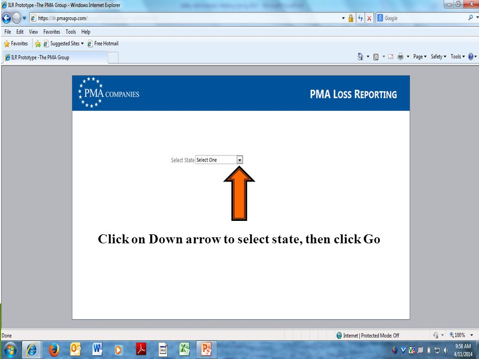 20 Click on Down arrow to select state, then click Go