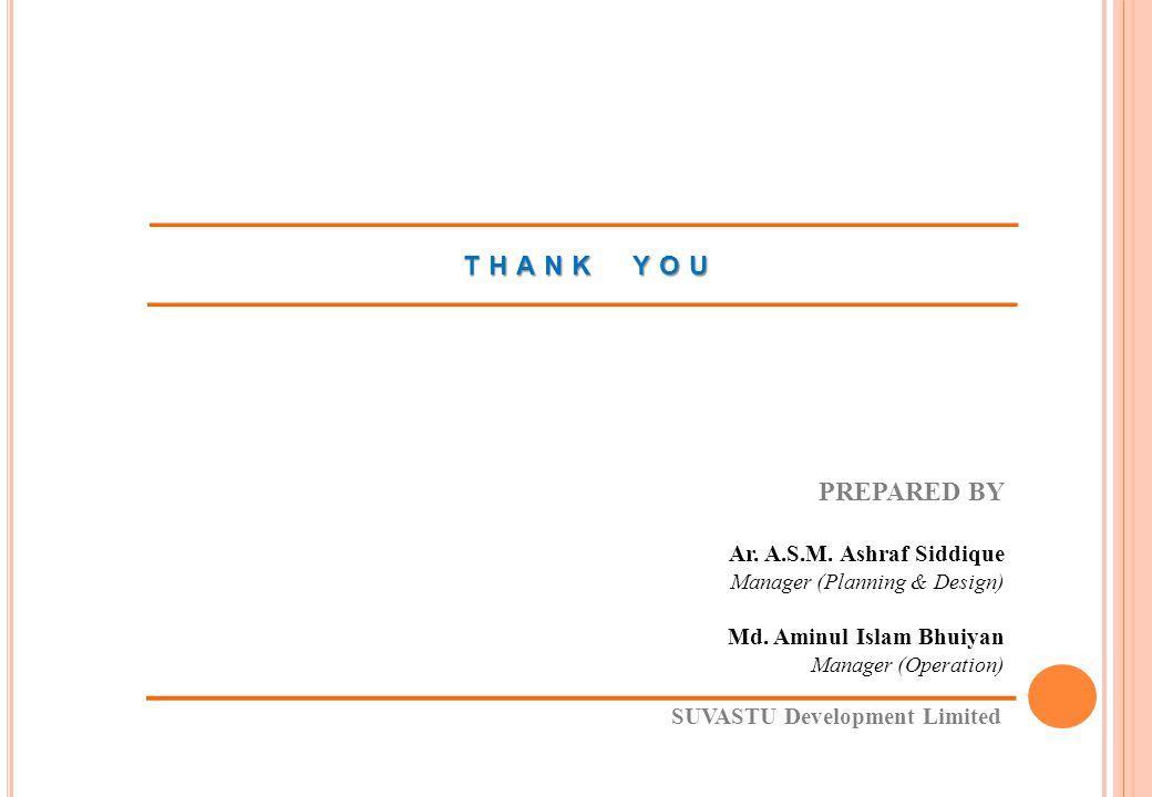 THANK YOU PREPARED BY Ar. A.S.M. Ashraf Siddique Manager (Planning & Design) Md. Aminul Islam Bhuiyan Manager (Operation) SUVASTU Development Limited
