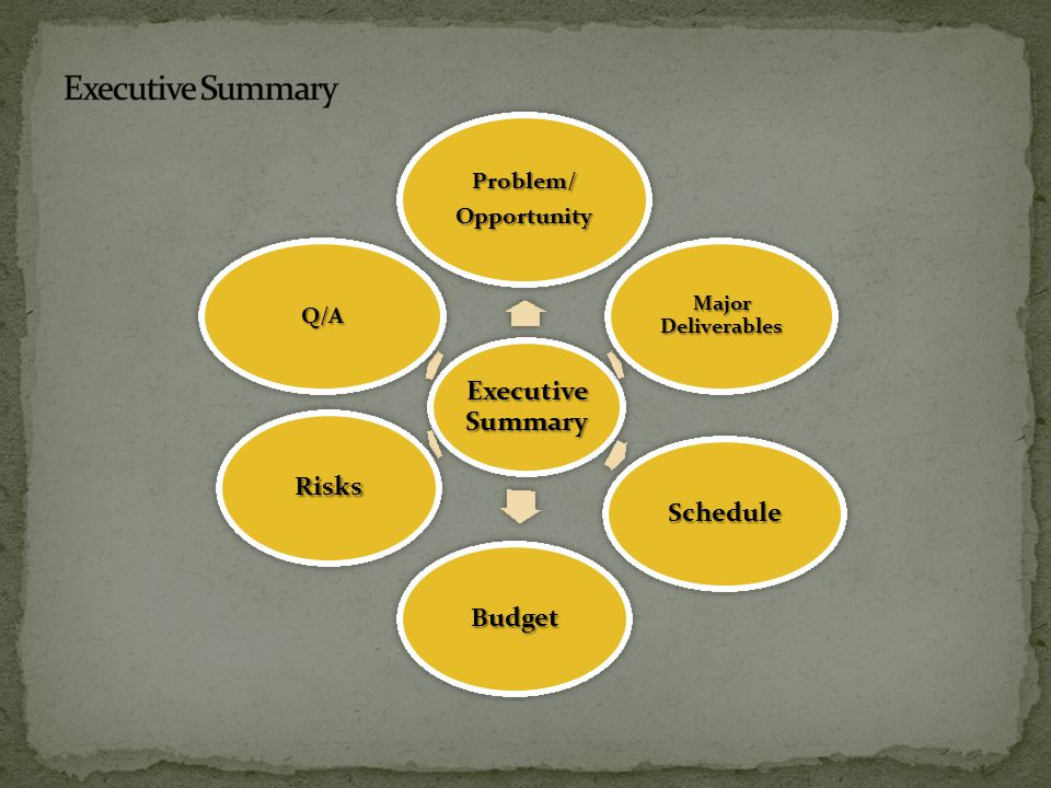 Executive Summary Problem/Opportunity Major Deliverables Schedule Budget Risks Q/A