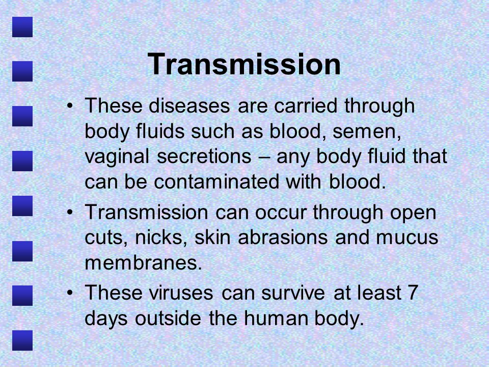Transmission These diseases are carried through body fluids such as blood, semen, vaginal secretions – any body fluid that can be contaminated with blood.