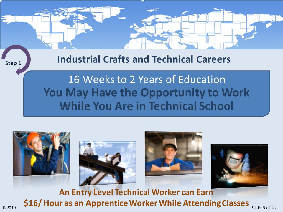 Slide 8 of 139/2010 16 Weeks to 2 Years of Education You May Have the Opportunity to Work While You Are in Technical School Step 1 An Entry Level Technical Worker can Earn $16/ Hour as an Apprentice Worker While Attending Classes Industrial Crafts and Technical Careers