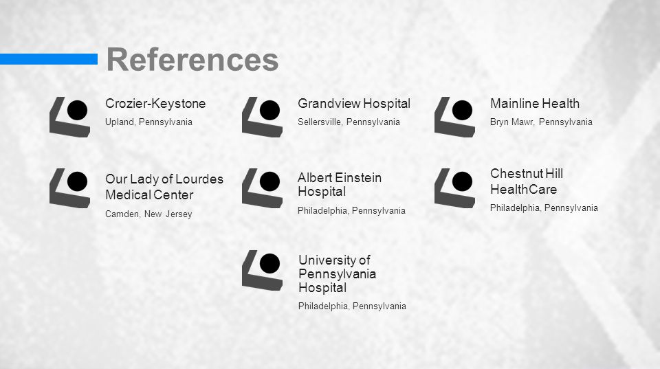 References Crozier-Keystone Upland, Pennsylvania Our Lady of Lourdes Medical Center Camden, New Jersey Grandview Hospital Sellersville, Pennsylvania Albert Einstein Hospital Philadelphia, Pennsylvania Mainline Health Bryn Mawr, Pennsylvania Chestnut Hill HealthCare Philadelphia, Pennsylvania University of Pennsylvania Hospital Philadelphia, Pennsylvania