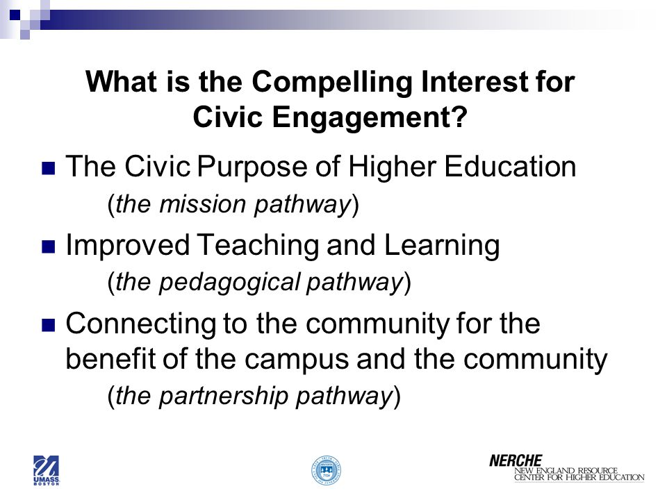 What is the Compelling Interest for Civic Engagement.