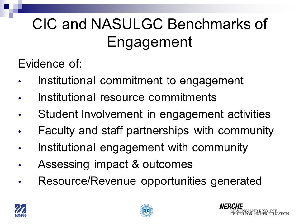 CIC and NASULGC Benchmarks of Engagement Evidence of: Institutional commitment to engagement Institutional resource commitments Student Involvement in engagement activities Faculty and staff partnerships with community Institutional engagement with community Assessing impact & outcomes Resource/Revenue opportunities generated