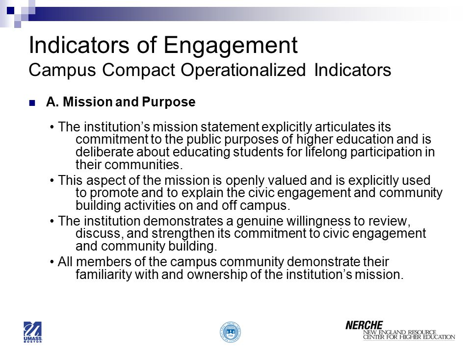 Indicators of Engagement Campus Compact Operationalized Indicators A.
