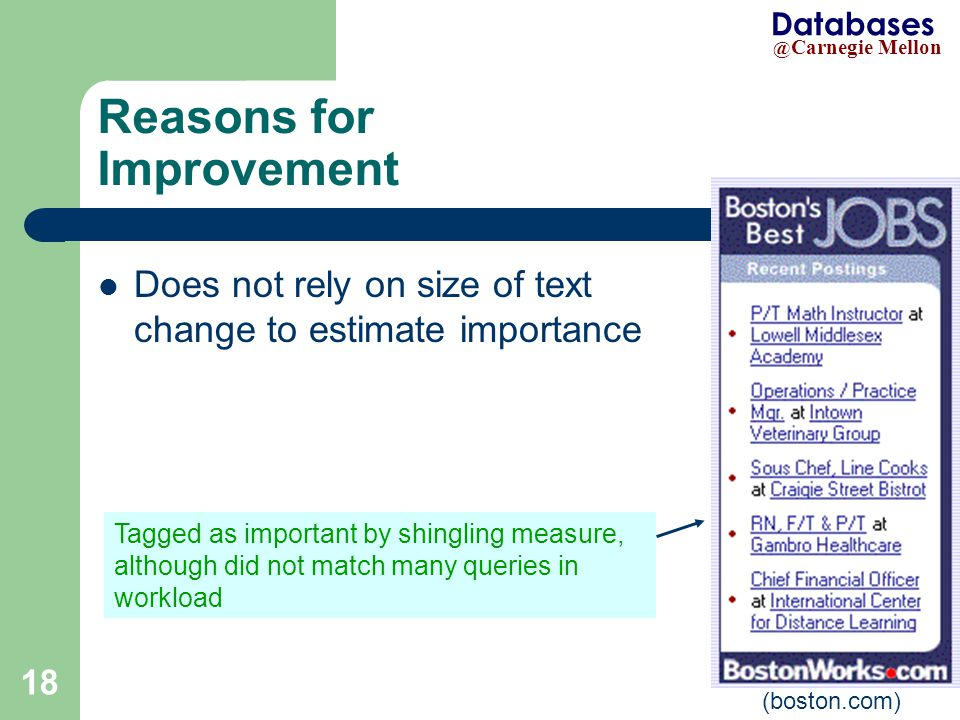 @ Carnegie Mellon Databases 18 (boston.com) Does not rely on size of text change to estimate importance Tagged as important by shingling measure, although did not match many queries in workload Reasons for Improvement