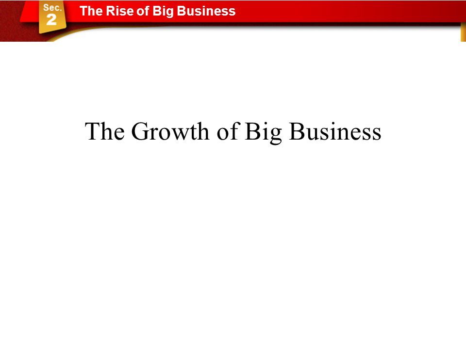 The Growth of Big Business The Rise of Big Business