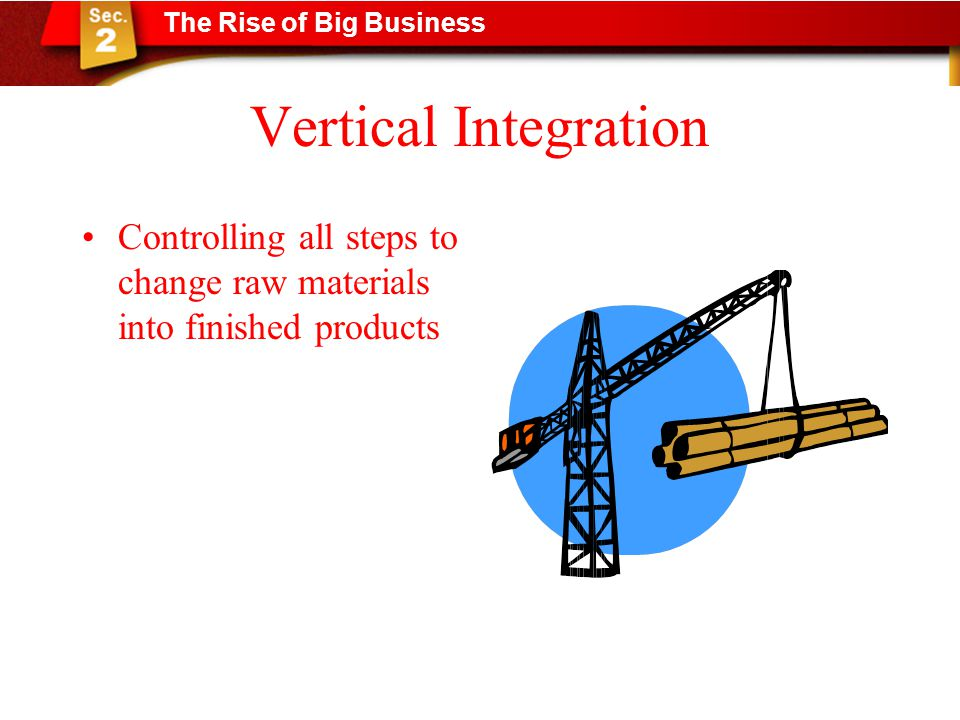 Vertical Integration Controlling all steps to change raw materials into finished products The Rise of Big Business