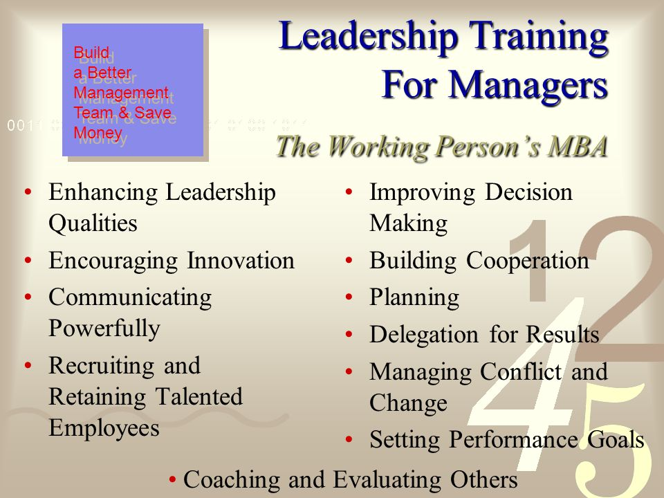 Leadership Training For Managers Based on a new paradigm of leadership that focuses on trust, teamwork, empowerment and accountability, the LTM develops the essential skills of creativity, delegation, communication, problem analysis, time management and motivation.