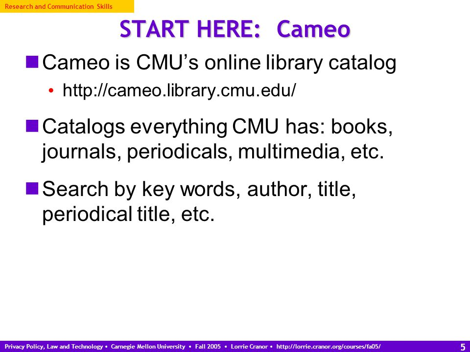 Privacy Policy, Law and Technology Carnegie Mellon University Fall 2005 Lorrie Cranor http://lorrie.cranor.org/courses/fa05/ 26 Writing a literature review What is a literature review.