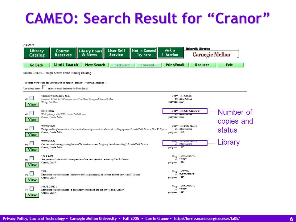 Privacy Policy, Law and Technology Carnegie Mellon University Fall 2005 Lorrie Cranor http://lorrie.cranor.org/courses/fa05/ 7 CAMEO: Search Result for Solove Due date