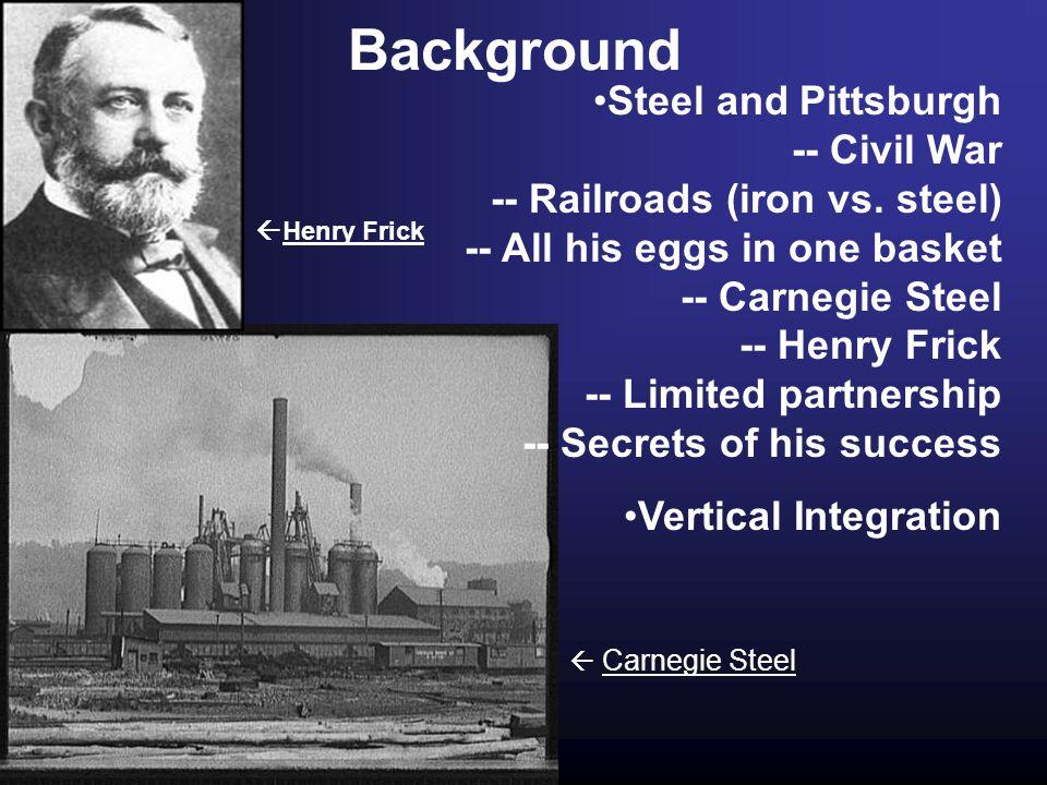 Background Steel and Pittsburgh -- Civil War -- Railroads (iron vs.