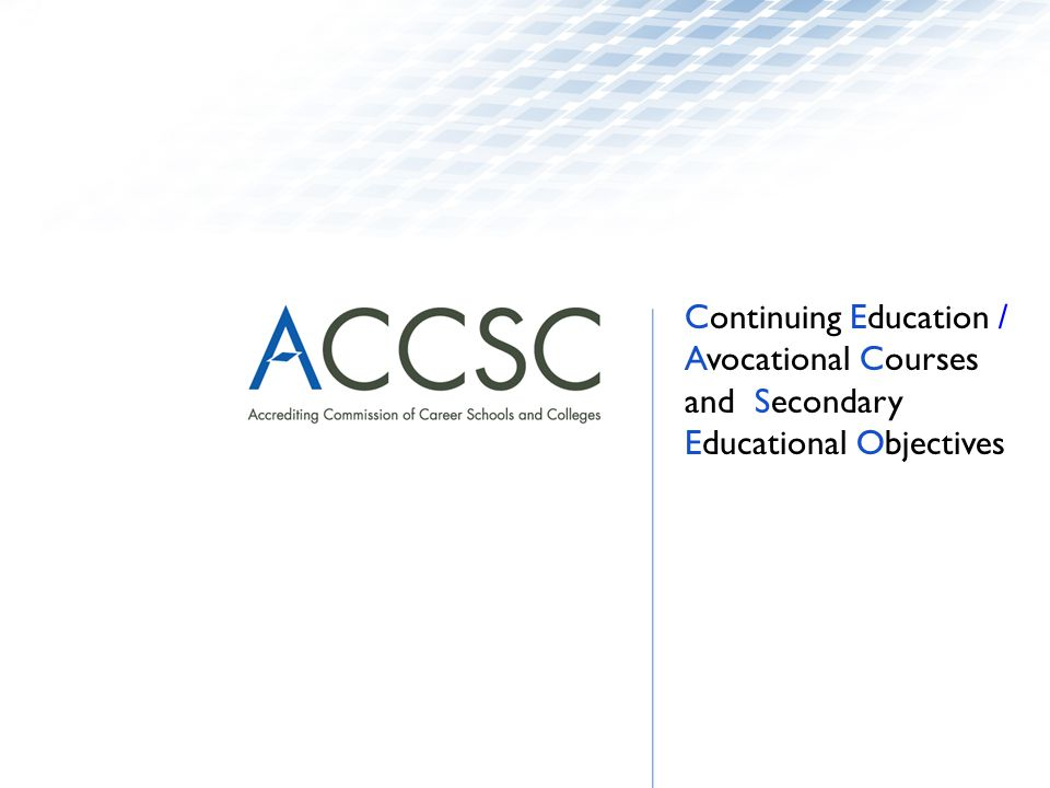 Continuing Education / Avocational Courses and Secondary Educational Objectives