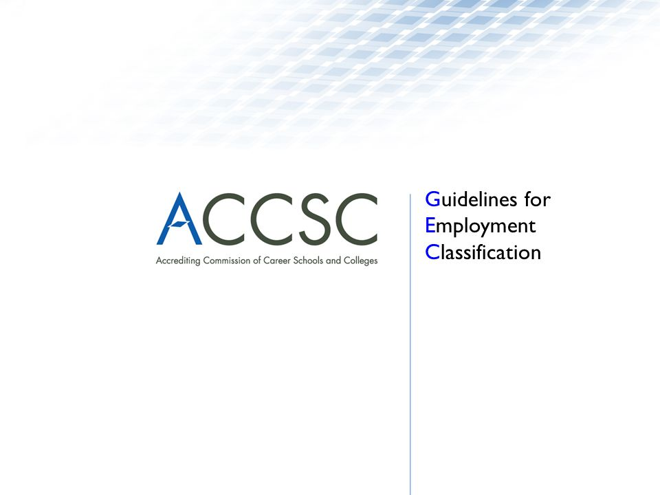 Guidelines for Employment Classification
