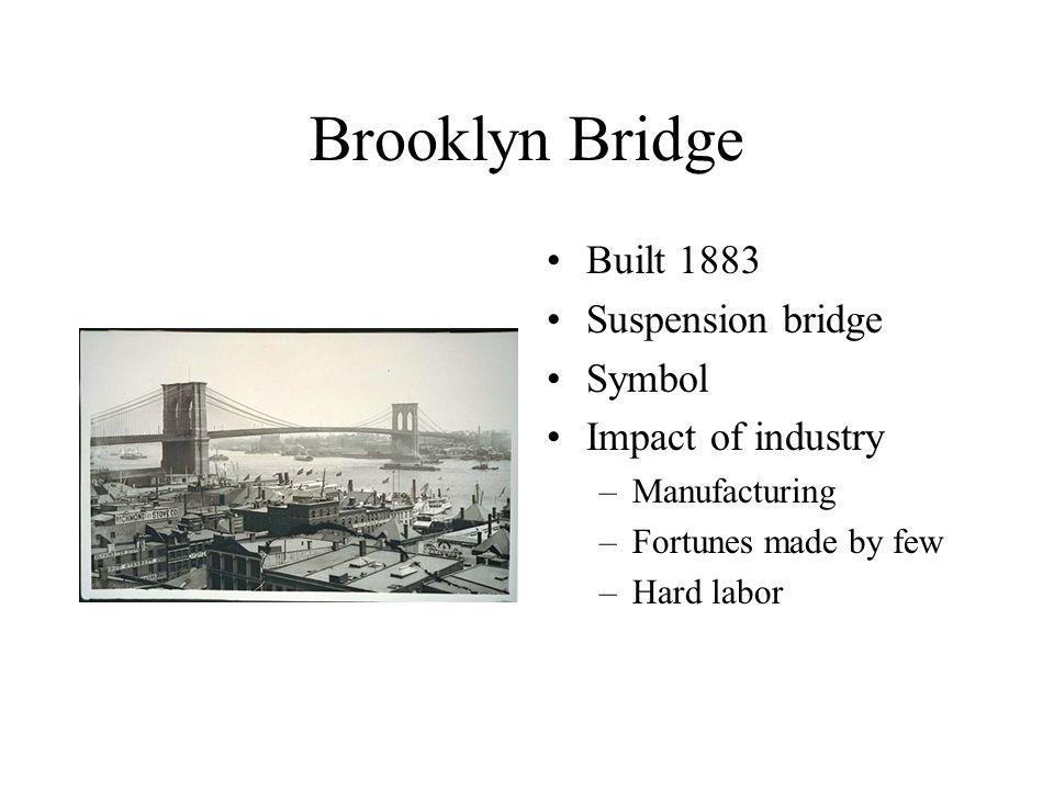 Brooklyn Bridge Built 1883 Suspension bridge Symbol Impact of industry –Manufacturing –Fortunes made by few –Hard labor