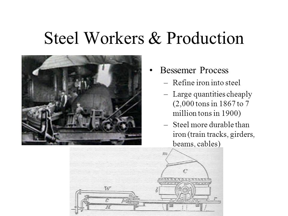 Steel Workers & Production Bessemer Process –Refine iron into steel –Large quantities cheaply (2,000 tons in 1867 to 7 million tons in 1900) –Steel more durable than iron (train tracks, girders, beams, cables)
