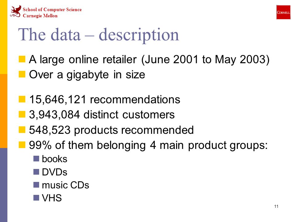 School of Computer Science Carnegie Mellon 11 The data – description A large online retailer (June 2001 to May 2003) Over a gigabyte in size 15,646,121 recommendations 3,943,084 distinct customers 548,523 products recommended 99% of them belonging 4 main product groups: books DVDs music CDs VHS