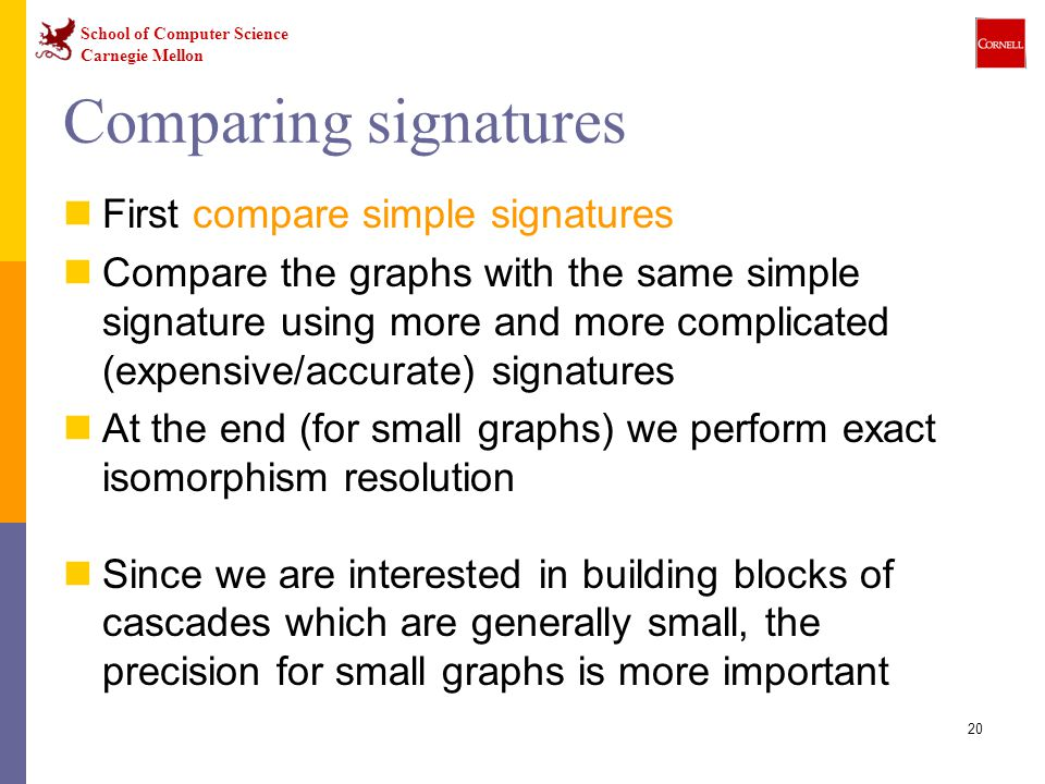 School of Computer Science Carnegie Mellon 20 Comparing signatures First compare simple signatures Compare the graphs with the same simple signature using more and more complicated (expensive/accurate) signatures At the end (for small graphs) we perform exact isomorphism resolution Since we are interested in building blocks of cascades which are generally small, the precision for small graphs is more important