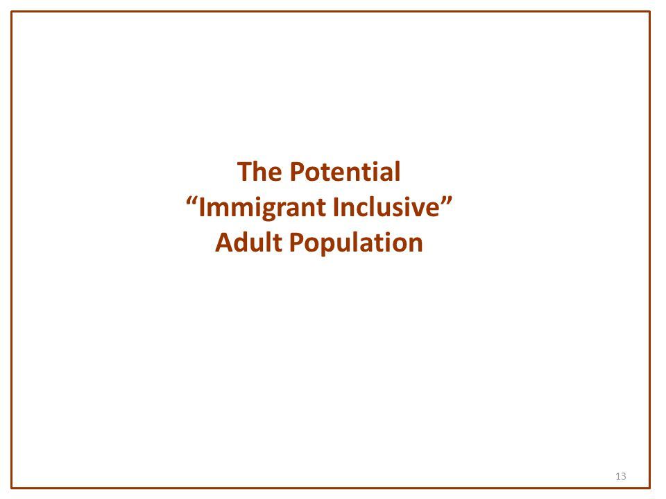 13 The Potential Immigrant Inclusive Adult Population