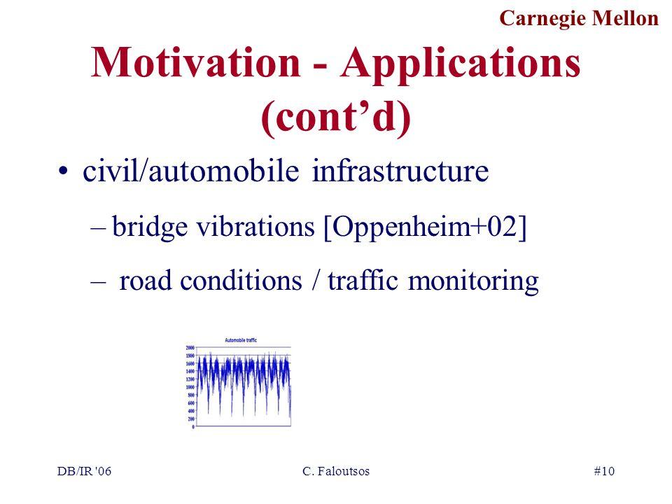 Carnegie Mellon DB/IR '06C. Faloutsos#10 Motivation - Applications (cont'd) civil/automobile infrastructure –bridge vibrations [Oppenheim+02] – road c