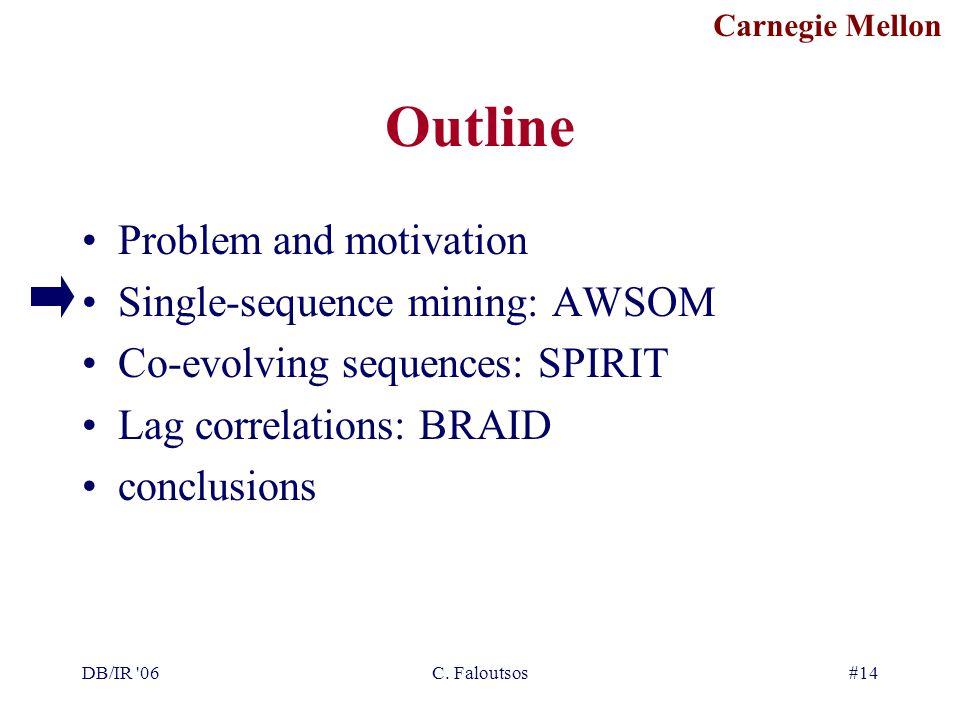Carnegie Mellon DB/IR '06C. Faloutsos#14 Outline Problem and motivation Single-sequence mining: AWSOM Co-evolving sequences: SPIRIT Lag correlations: