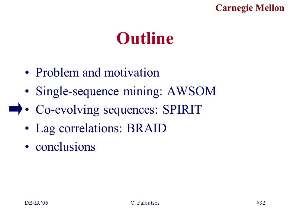 Carnegie Mellon DB/IR '06C. Faloutsos#32 Outline Problem and motivation Single-sequence mining: AWSOM Co-evolving sequences: SPIRIT Lag correlations: