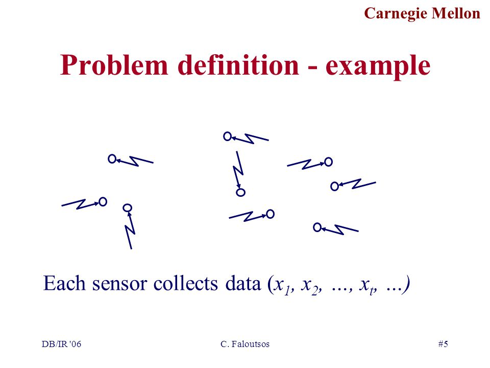 Carnegie Mellon DB/IR '06C. Faloutsos#5 Problem definition - example Each sensor collects data (x 1, x 2, …, x t, …)