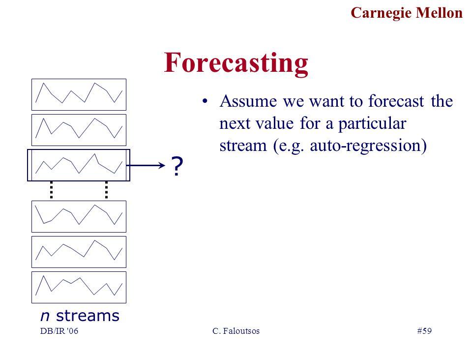 Carnegie Mellon DB/IR '06C. Faloutsos#59 Forecasting ? Assume we want to forecast the next value for a particular stream (e.g. auto-regression) n stre