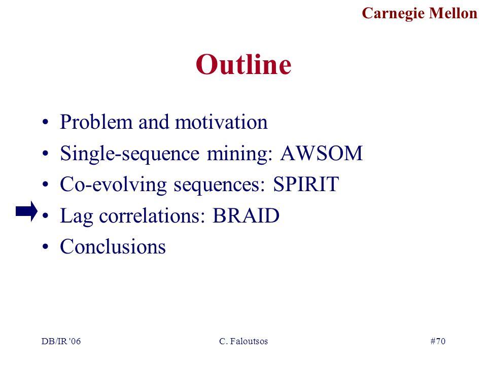 Carnegie Mellon DB/IR '06C. Faloutsos#70 Outline Problem and motivation Single-sequence mining: AWSOM Co-evolving sequences: SPIRIT Lag correlations: