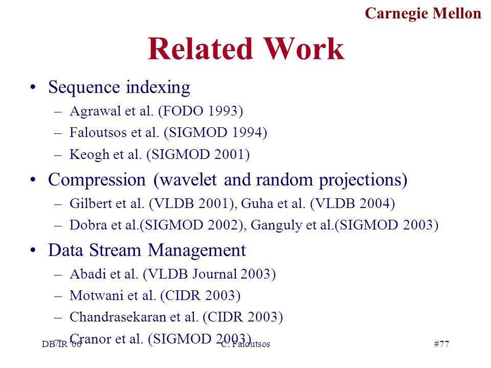 Carnegie Mellon DB/IR 06C. Faloutsos#77 Sequence indexing –Agrawal et al.
