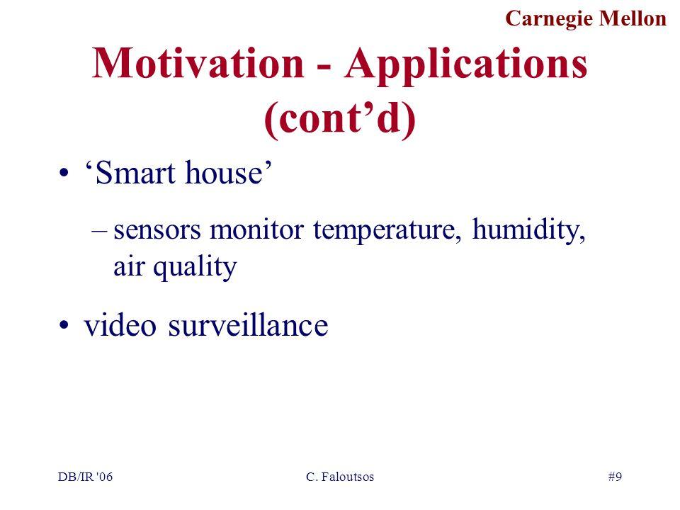 Carnegie Mellon DB/IR '06C. Faloutsos#9 Motivation - Applications (cont'd) 'Smart house' –sensors monitor temperature, humidity, air quality video sur