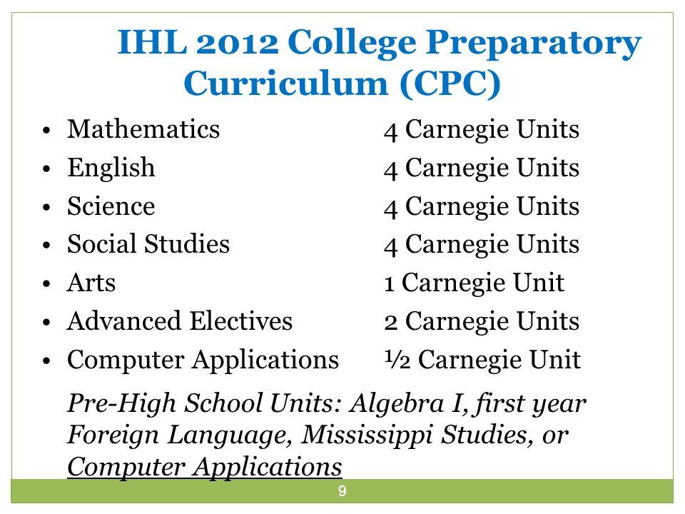 9 IHL 2012 College Preparatory Curriculum (CPC) Mathematics 4 Carnegie Units English4 Carnegie Units Science4 Carnegie Units Social Studies4 Carnegie