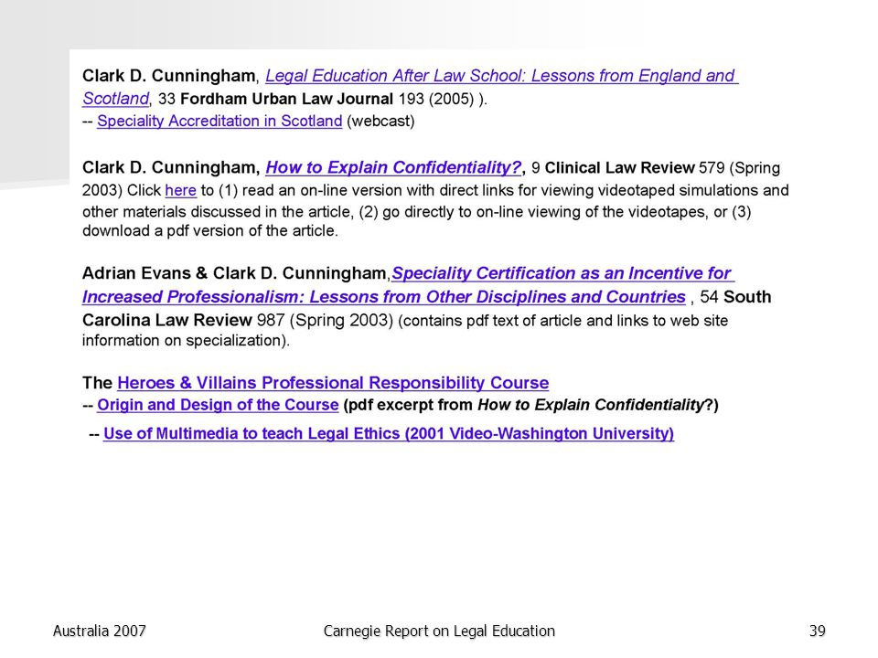 Australia 2007Carnegie Report on Legal Education39