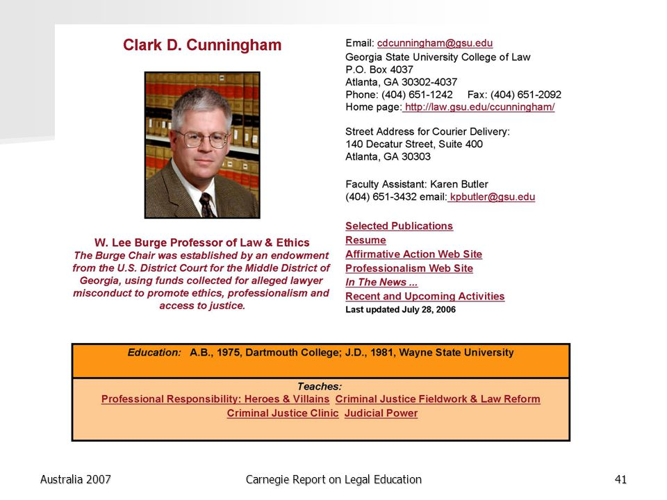 Australia 2007Carnegie Report on Legal Education41