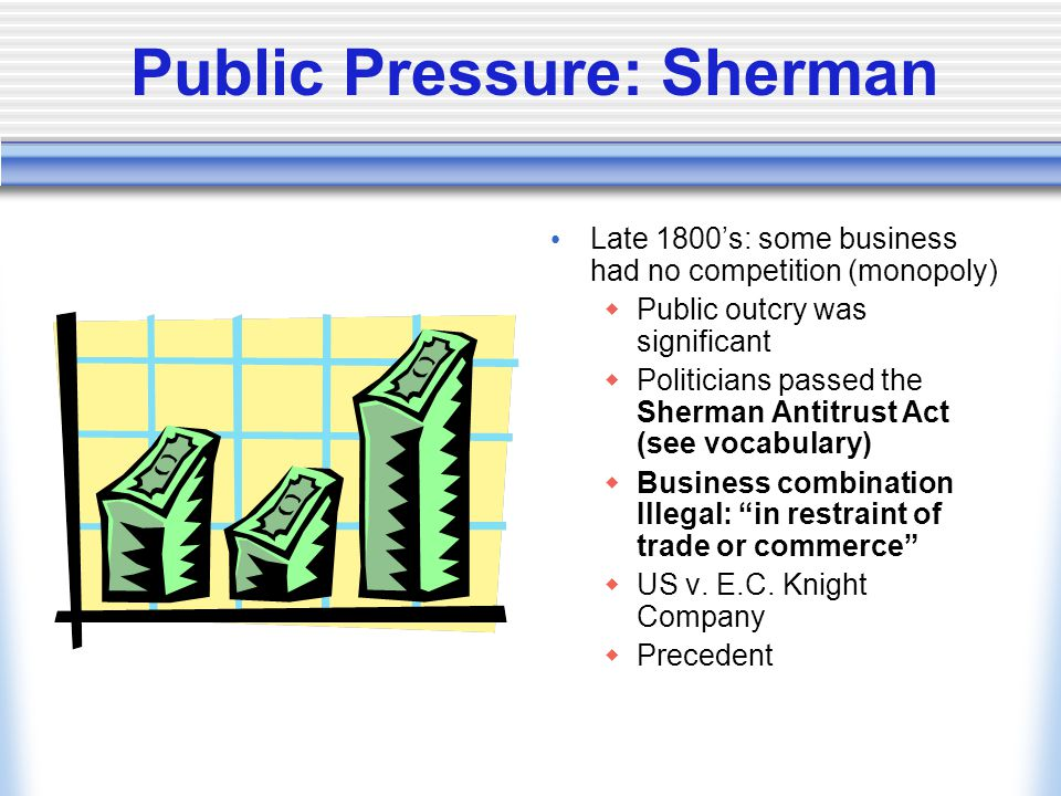 Public Pressure: Sherman Late 1800's: some business had no competition (monopoly)  Public outcry was significant  Politicians passed the Sherman Antitrust Act (see vocabulary)  Business combination Illegal: in restraint of trade or commerce  US v.