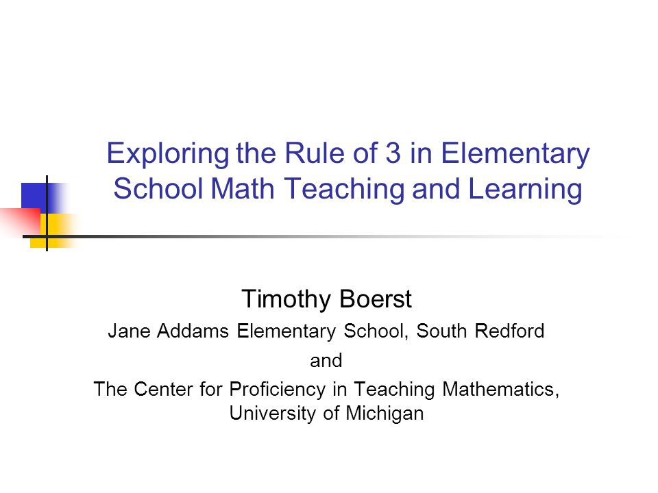 Defining the Rule of 3 Every topic should be presented geometrically, numerically, and algebraically. (Hughes-Hallett et al, 1994) Subsequent definitions have tended to emphasize graphic and verbal representations and attend less to geometric forms.