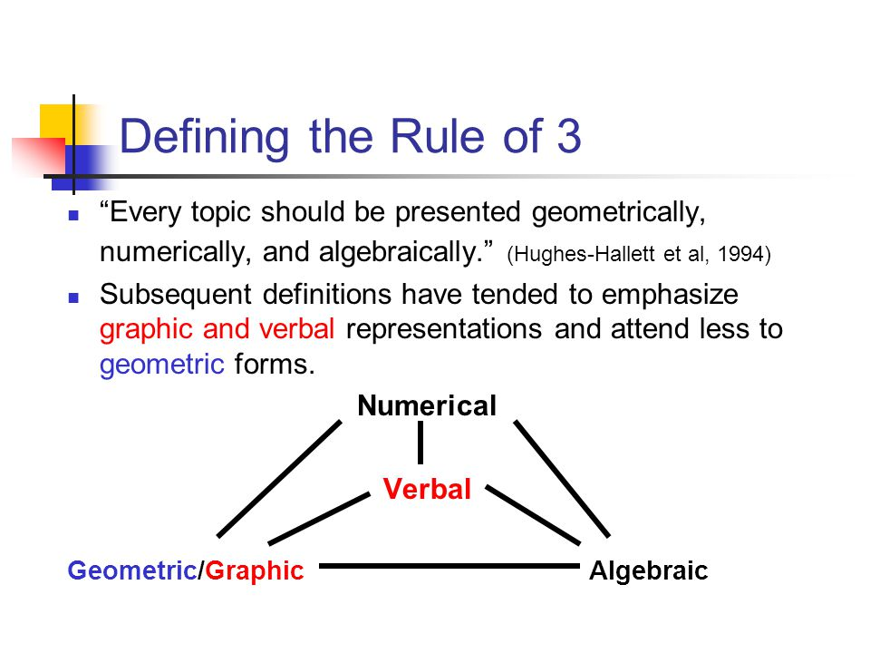 Defining the Rule of 3 Numerical- Representation focuses on specific values within algorithms, equations, lists, tables and the like.