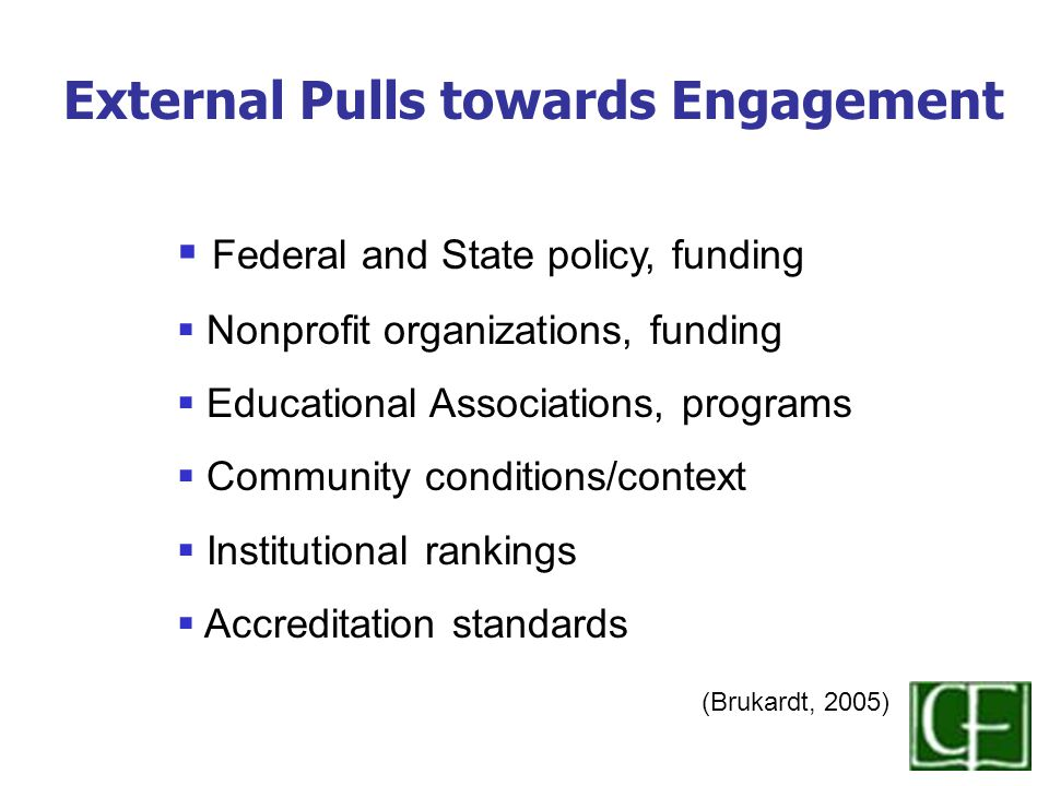  Federal and State policy, funding  Nonprofit organizations, funding  Educational Associations, programs  Community conditions/context  Institutional rankings  Accreditation standards (Brukardt, 2005) External Pulls towards Engagement