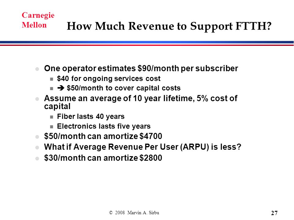 © 2008 Marvin A. Sirbu 27 Carnegie Mellon How Much Revenue to Support FTTH.