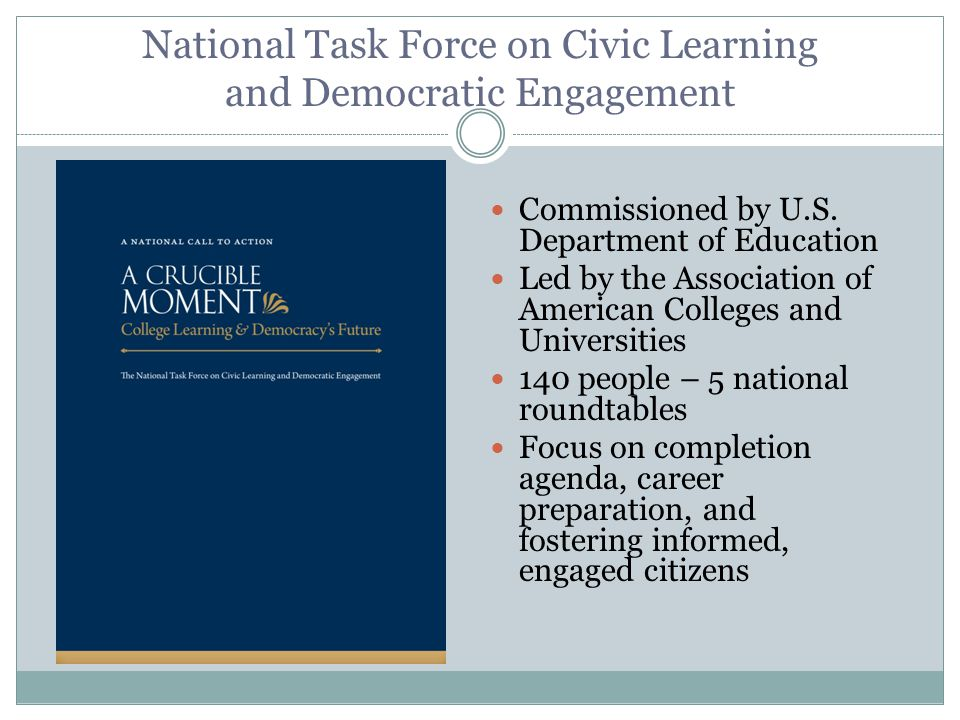 National Task Force on Civic Learning and Democratic Engagement Commissioned by U.S.