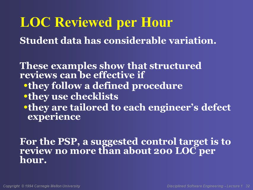 Copyright © 1994 Carnegie Mellon University Disciplined Software Engineering - Lecture 1 32 LOC Reviewed per Hour Student data has considerable variation.