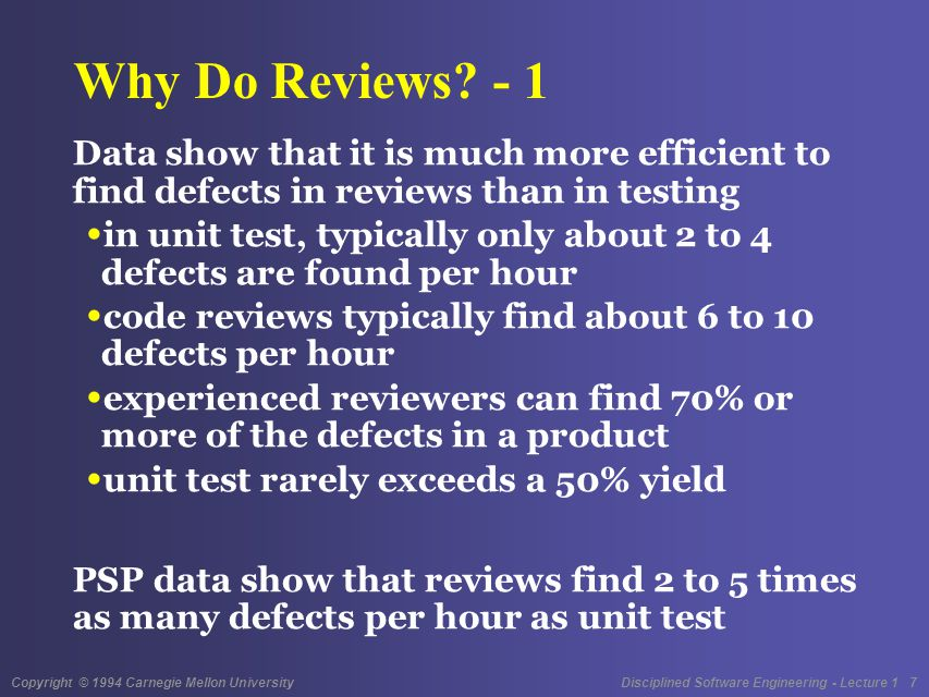 Copyright © 1994 Carnegie Mellon University Disciplined Software Engineering - Lecture 1 18 Review Principles PSP reviews follow a disciplined process with entry and exit criteria a review structure guidelines, checklists, and standards The suggested PSP review goal is to find every defect before the first compile or test.