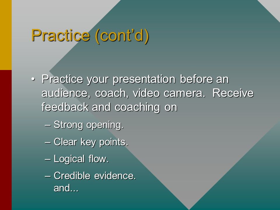 Practice (cont'd) Practice your presentation before an audience, coach, video camera.